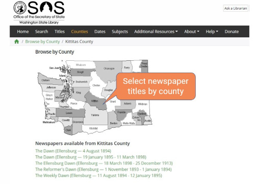 Screenshot of Veridian search by county feature