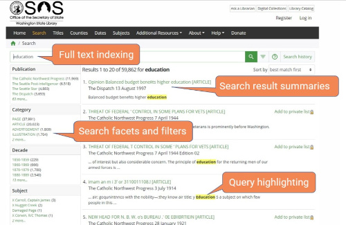 Screenshot of Veridian search features