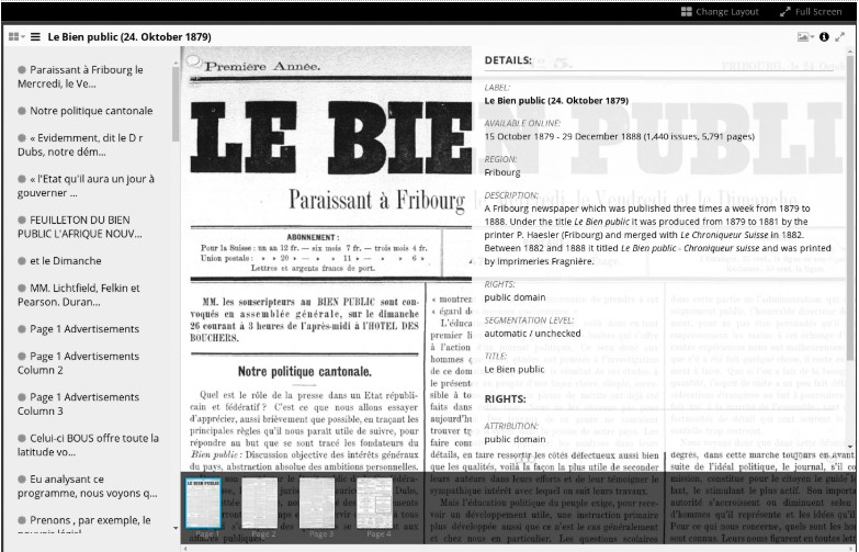 Screenshot of Le Bien Public newspaper within Mirador viewer