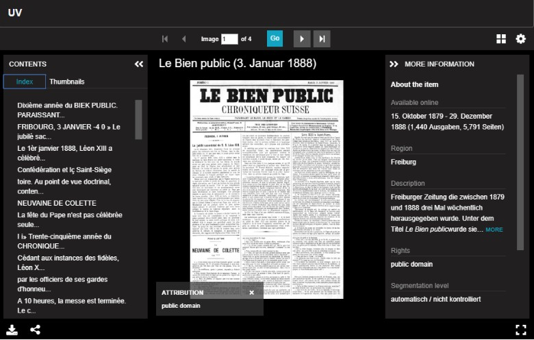 Screenshot of Le Bien Public newspaper within Universal Viewer