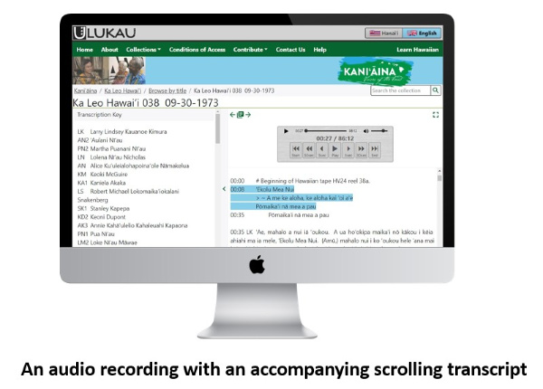 An audio recording with accompanying highlighted transcript