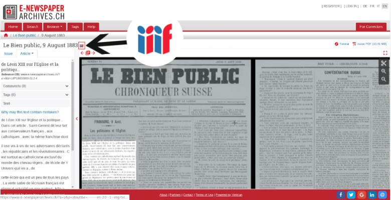 Screenshot of the Swiss National Library digital newspaper archive showing IIIF logo