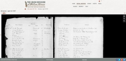 Screen shot showing historical document from the Irish Mission House